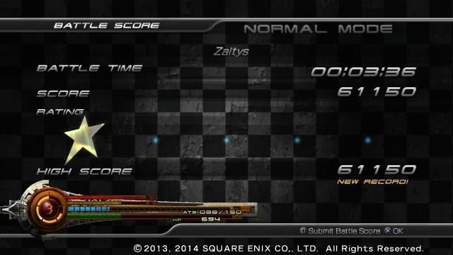 My battle score from the Final Fantasy XIII: Lightning Returns demo