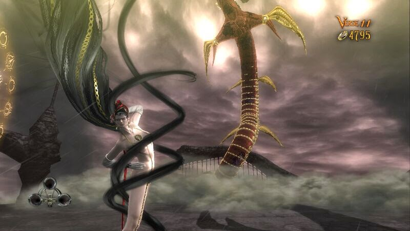 Bayonetta's hair spirals around her as she summons a demon