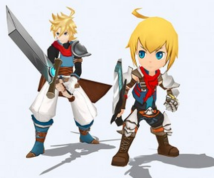 Left: Mithos as he appears in the game. Right: Mithos as he appeared in the Kickstarter.